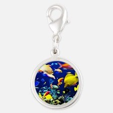 Colorful Aquatic Ocean Life Silver Round Charm