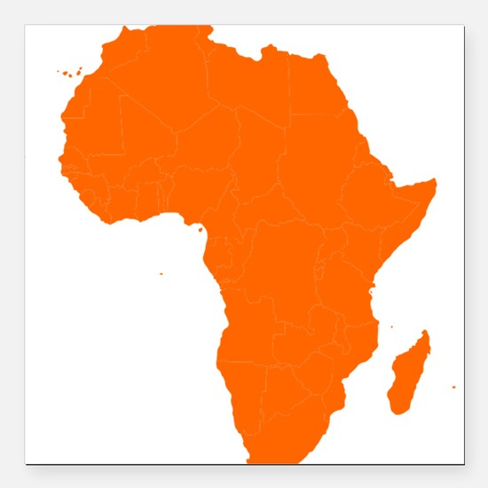 """Continent of Africa Square Car Magnet 3"""" x 3"""""""