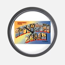 Hollywood Beach Florida Greetings Wall Clock