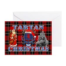 Red Tartan blue thistle Christmas design Greeting