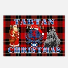 Red Tartan blue thistle Christmas design Postcards