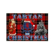 Red Tartan blue thistle Christmas design Magnets