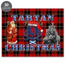 Red Tartan blue thistle Christmas design Puzzle
