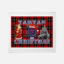 Red Tartan blue thistle Christmas design Throw Bla