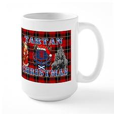 Red Tartan blue thistle Christmas design Mugs