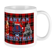 Red Tartan blue thistle Christmas design Mugs