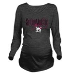 Snowmobile Girl Skull Long Sleeve Maternity T-Shir