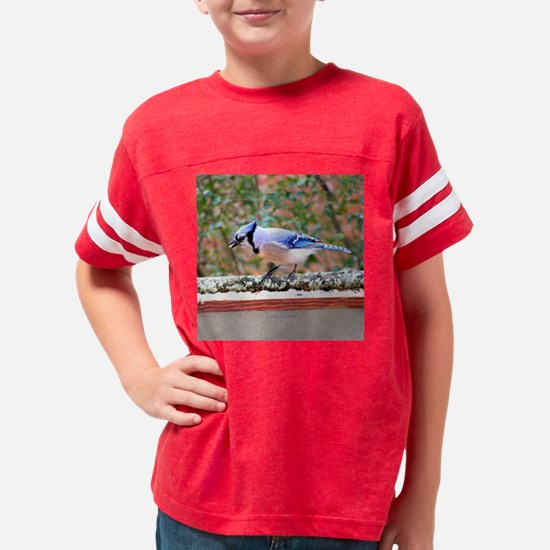 Blue Jay Eating Corn Youth Football Shirt