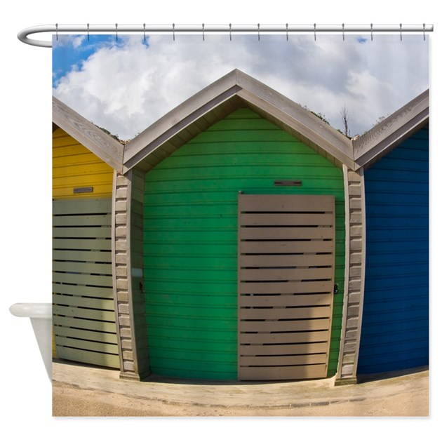 Fun Beach Huts Shower Curtain By MoonlakeDesigns