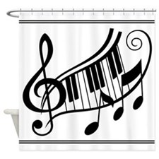 Music Keyboard Treble Clef Shower Curtain