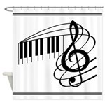 Classic Music Keyboard Treble Clef Shower Curtain