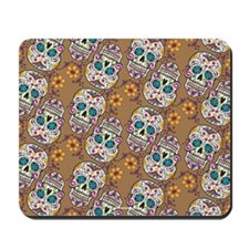 Sugar Skull Day of the Dead Grey Mousepad