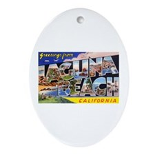 Laguna Beach California Greetings Oval Ornament