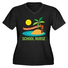 Retired School Nurse Women's Plus Size V-Neck Dark