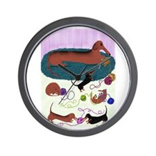 Knitting Dachshund Wall Clock