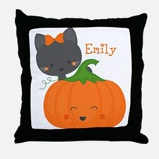 Kitty and Pumpkin Personalized Throw Pillow
