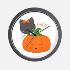 Kitty and Pumpkin Personalized Wall Clock