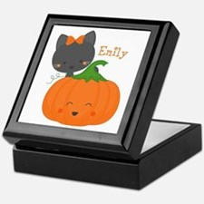 Kitty and Pumpkin Personalized Keepsake Box