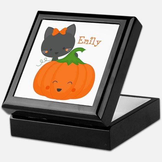 Kitty and Pumpkin Personalized Keepsake Box