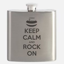 Keep Calm and Rock On - Curling Flask