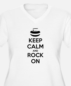 Keep Calm and Rock On - Curling Plus Size T-Shirt