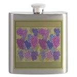 Grapes On Vineyard Leaves Flask
