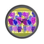 Grapes On Vineyard Leaves Wall Clock