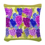 Grapes On Vineyard Leaves Woven Throw Pillow