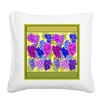 Grapes On Vineyard Leaves Square Canvas Pillow