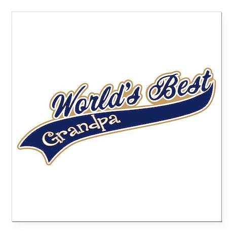 "Worlds Best Grandpa Square Car Magnet 3"" x 3"""