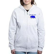 Custom Blue California Bear Zip Hoody