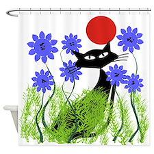 whimsical cat blue flowers DUVET Shower Curtain