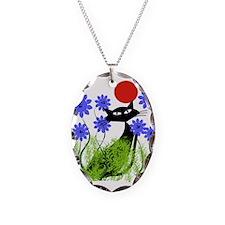 whimsical cat blue flowers DUVET Necklace