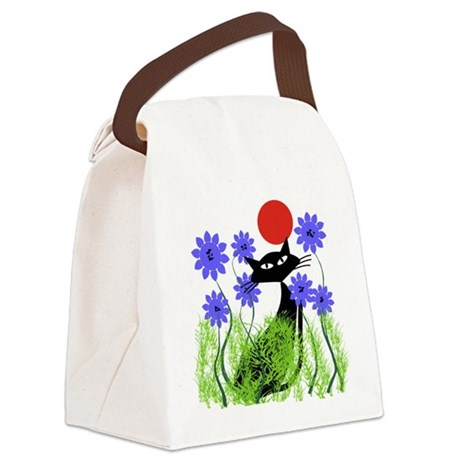 Whimsical Cat Blue Flowers DUVET Canvas Lunch Bag By Nurseii