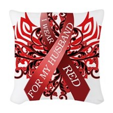 I Wear Red for my Husband Woven Throw Pillow