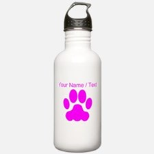 Custom Pink Big Cat Paw Print Sports Water Bottle