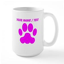 Custom Pink Big Cat Paw Print Mugs