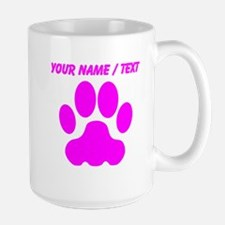 Custom Pink Big Cat Paw Print Mugs
