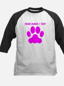 Custom Pink Big Cat Paw Print Baseball Jersey