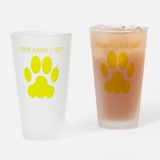 Custom Yellow Big Cat Paw Print Drinking Glass