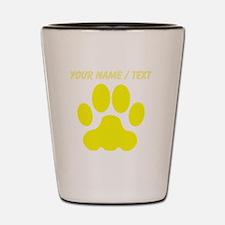 Custom Yellow Big Cat Paw Print Shot Glass