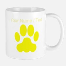 Custom Yellow Big Cat Paw Print Mugs