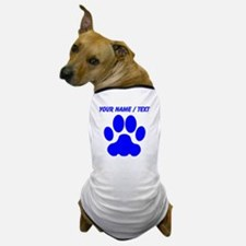 Custom Blue Big Cat Paw Print Dog T-Shirt