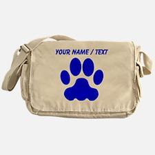 Custom Blue Big Cat Paw Print Messenger Bag