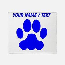 Custom Blue Big Cat Paw Print Throw Blanket