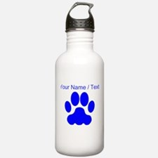 Custom Blue Big Cat Paw Print Sports Water Bottle