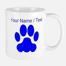 Custom Blue Big Cat Paw Print Mugs