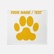 Custom Orange Big Cat Paw Print Throw Blanket