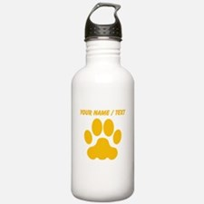 Custom Orange Big Cat Paw Print Sports Water Bottl