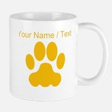 Custom Orange Big Cat Paw Print Mugs